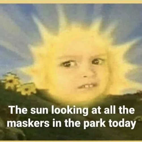 sun looking at all the masks in the park today