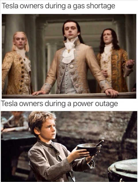 tesla owners gas shortage kings power outage beggars