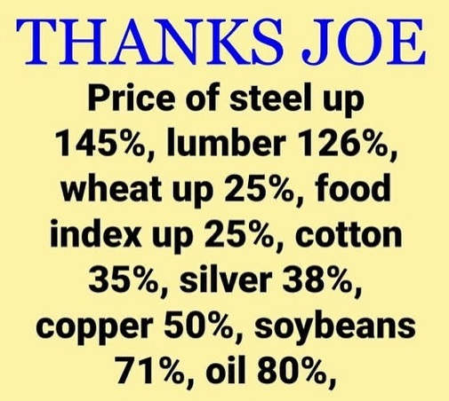thanks joe biden price of steel lumber food cotton silver oil skyrocket