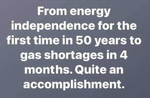 trump energy independence to gas shortages 4 months joe biden