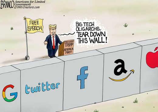 trump free speech big tech twitter google amazon facebook apple tear down this wall
