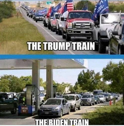 trump train vs biden train gas line