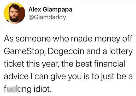 tweet gamestop dodgecoin lotter financial advice idiot