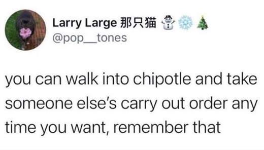 tweet larry chipolte take anyones order