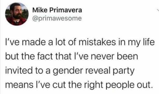 tweet mike primavera mistakes never gender reveal party