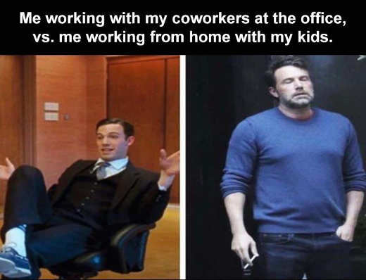 affleck me working coworkers office home with kids cigarette