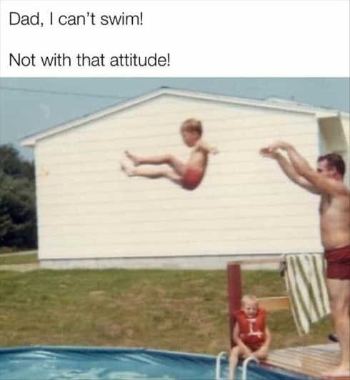 dad throwing kid in cant swim
