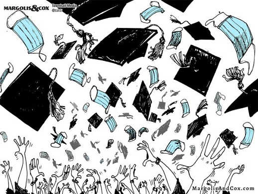 graduation throwing off facemasks hats