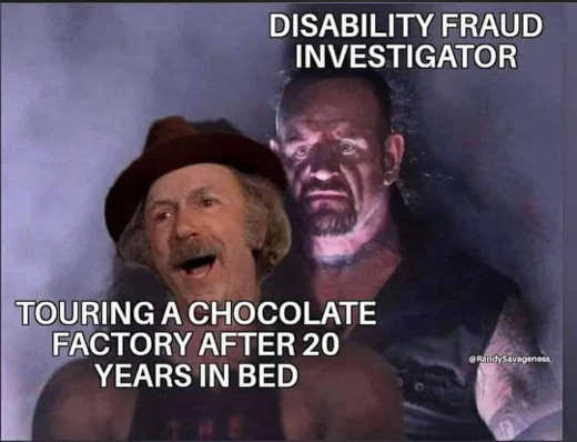 grandpa willy wonka factory 20 years in bed disability fraud investigator