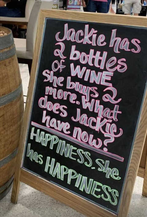 jackie bottles wine buys more happiness bar sign