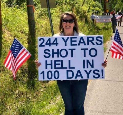 joe biden 244 years shot to hell 100 days sign