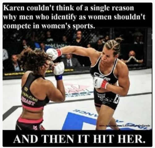 karen couldnt think of reason men identify as women sports hit her boxing
