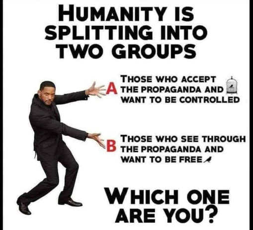 message humanity splitting into two geoups propaganda controlled