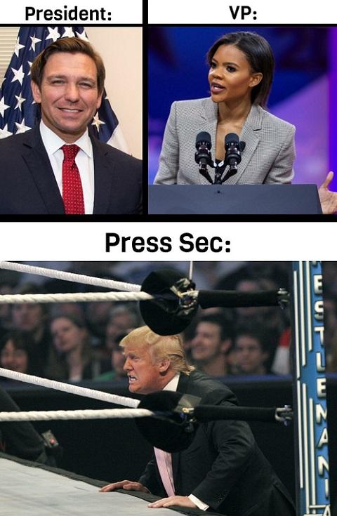 president ron desantis vp candace owens press secretary donald trump
