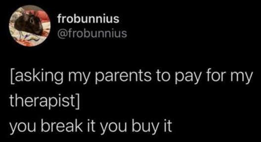 tweet asking parents therapist break it you buy it