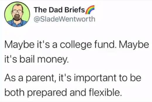 tweet dad briefs college fund bail flexibility