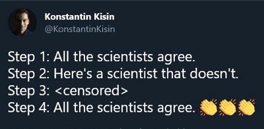 tweet kisin step 1 all scientests agree doesnt censored.jpg
