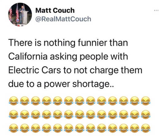 tweet matt couch nothing funnier california dont charge electric cars