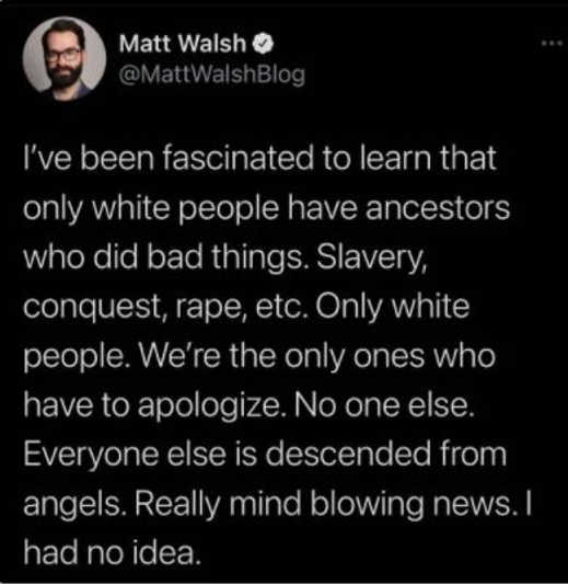 tweet matt walsh only white people slavery no other race did anything bad