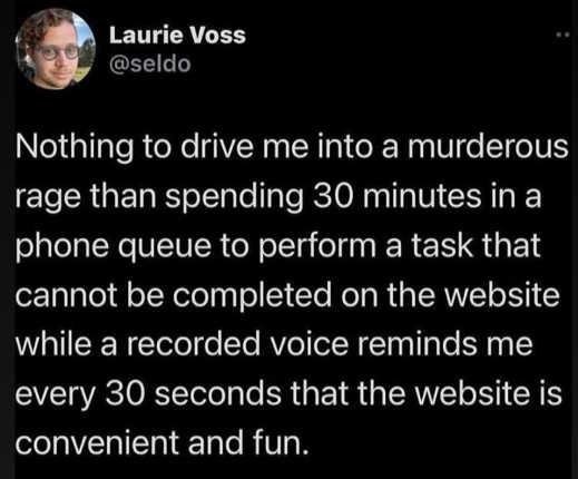 tweet nothing drive me murderous rage 30 minutes on hold reminder use website