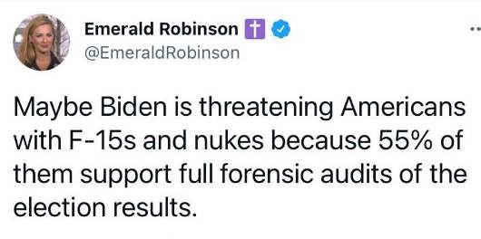 tweet robinson maybe biden threatening americans f15s nukes forensic audits