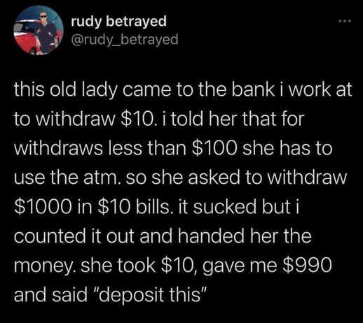 tweet rudy betrayed 10 dollar bills atm