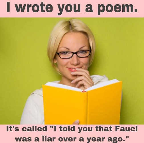 wrote poem fauci lied told you year ago