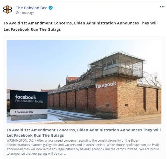 babylon bee biden admin avoid 1st amendment concerns by letting facebook run gulags