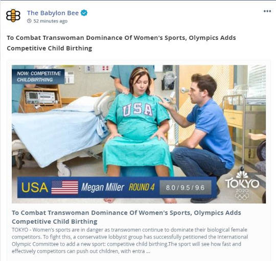 babylon bee combat transwoman dominance womens olympics adds competitive child birthing