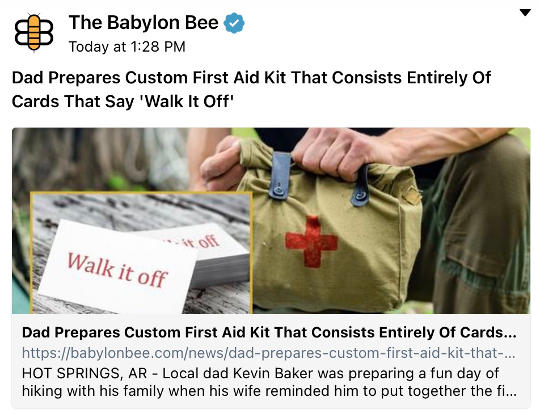 babylon bee dad first aid kit walk it off cards