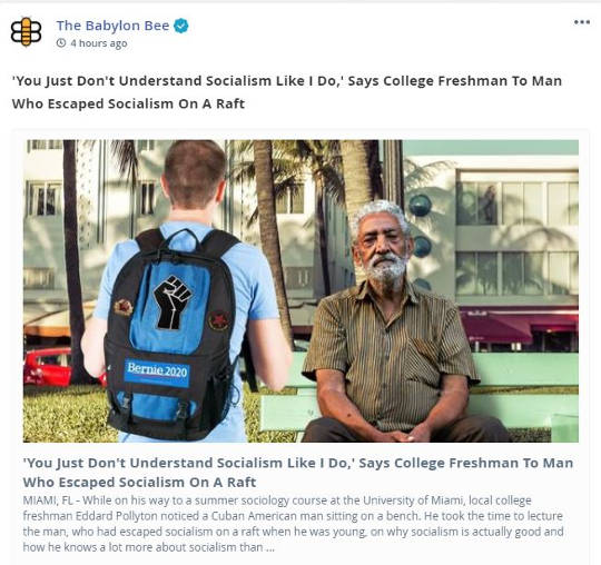 babylon bee you just dont understand socialism says college freshment to man escaped on raft