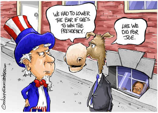 democrats have to lower bar kamala win presidency as with joe biden basement