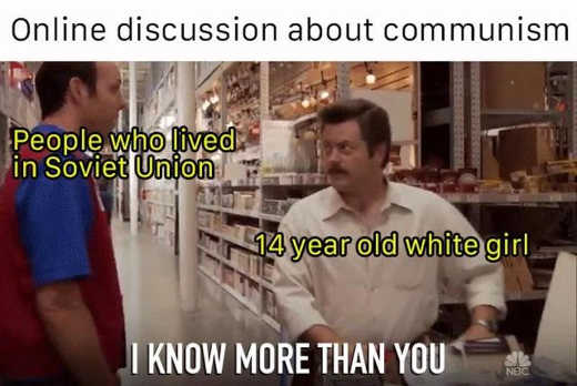 online discussion about communism soviet union citizens vs 14 year old white girl know more than you