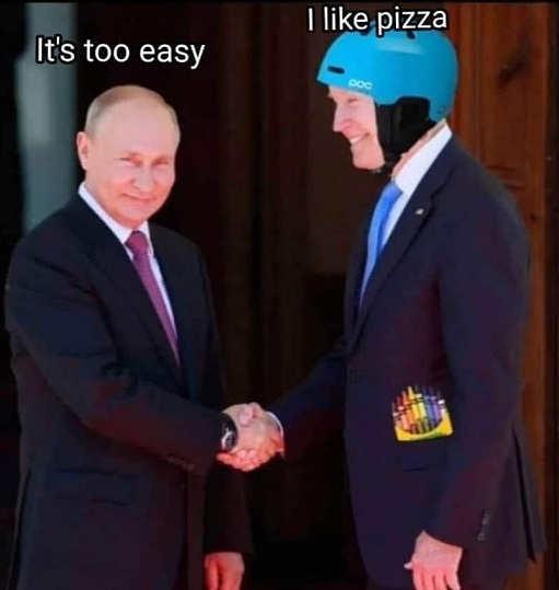 putin too easy joe biden helmet like pizza