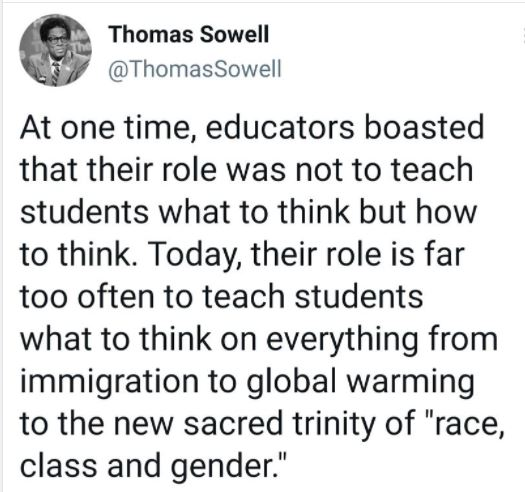 quote thomas sowell teachers used to talk about teaching students to think not what to