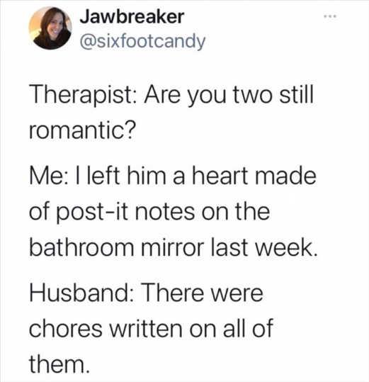 tweet jawbreaker therapist romantic postit notes chores