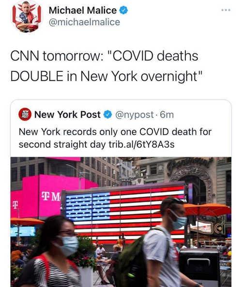 tweet michael malice cnn tomorrow covid deaths double ny