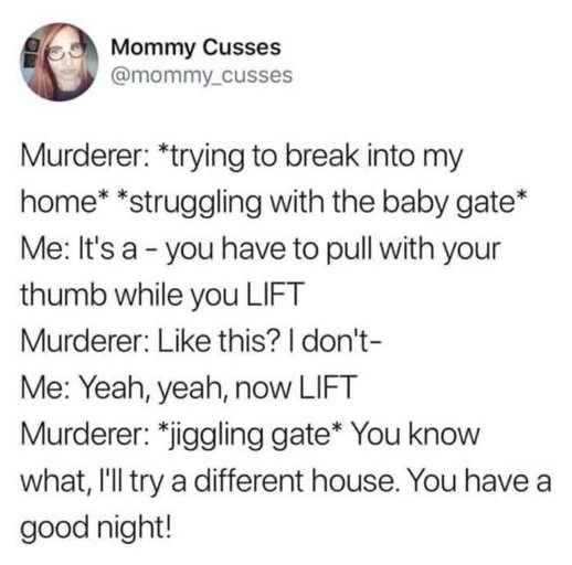 tweet mommy cusses baby gate murderer