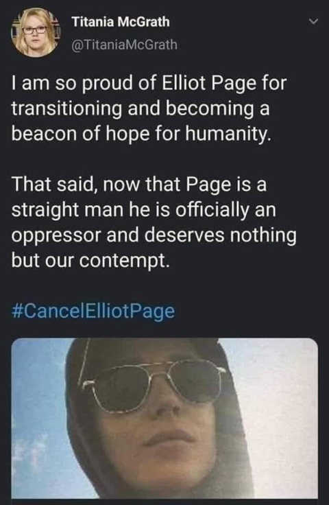 tweet titania cancel elliot page now oppressor
