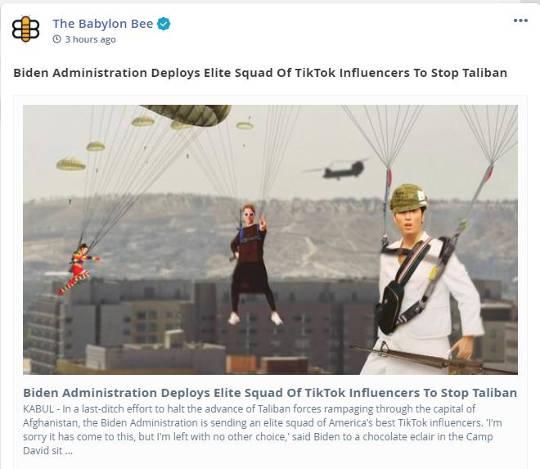 babylon bee biden admin deploys elite squad tik tok influencers stop taliban