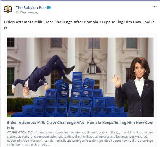 babylon bee biden attempts milk crate challenge kamala harris