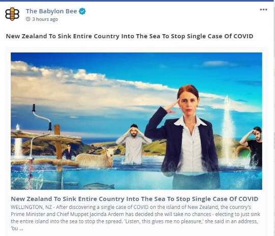 babylon bee new zealand to sink entire country stop single case covid