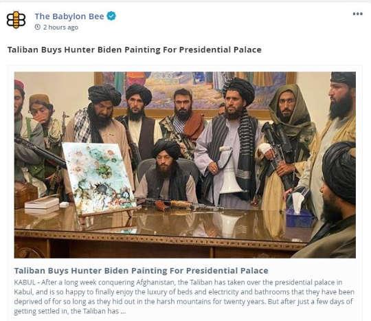 babylon bee taliban buy hunter biden paintaing presidential palace