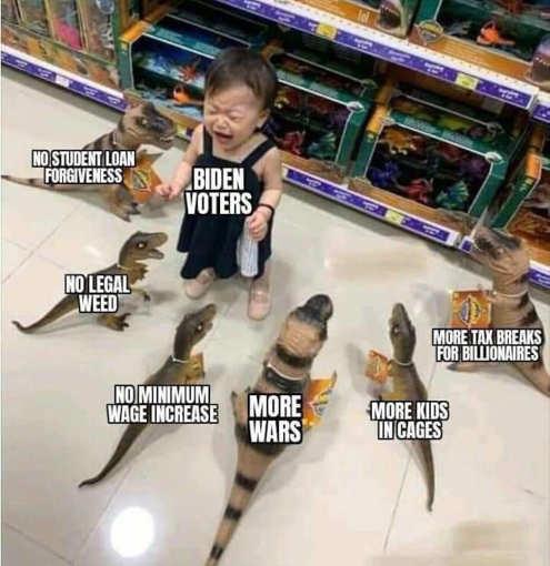 biden voters crying dinosaurs student loans minimum wage tax breaks billionaires