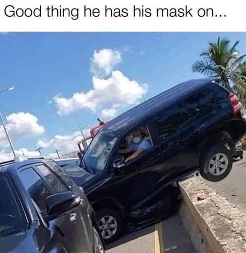 car crash good think has facemask on