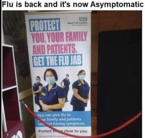 flu back now asymptomatic get jab