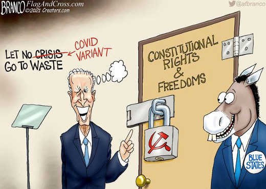 joe biden let no crisis covid variant go to waste lock constitutional rights freedom blue states