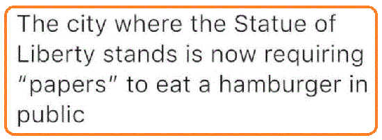 ny city where statue of liberty stands requires papers eat hamburger in public