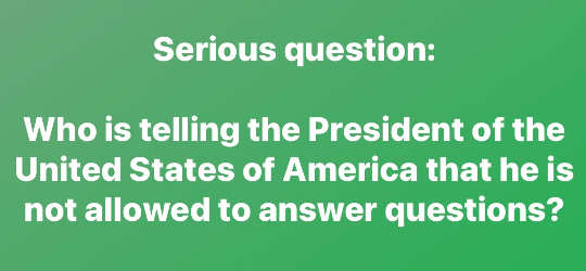 question who is telling president not to answer questions