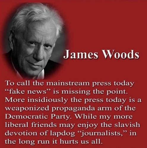 quote james woods mainstream press fake news propaganda arm